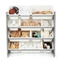 Tot Tutors Kids Toy Storage Organizer w/ 12 Plastic Bins, Grey/White