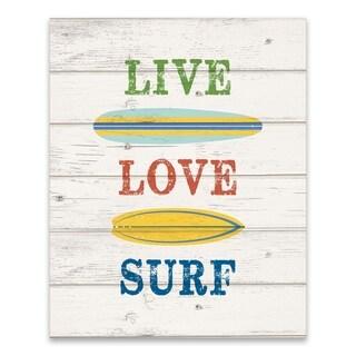 """Live, Love, Surf - Brights"" Printed Canvas - 16W x 20H x 1.25D"