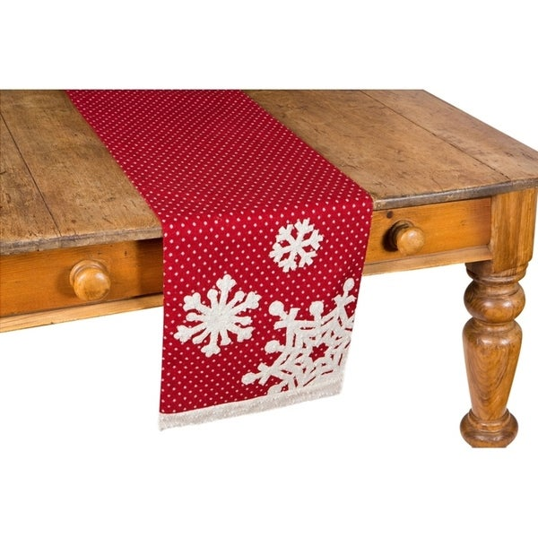 shop snowflake christmas table runner 13 by 36 inch free shipping on orders over 45. Black Bedroom Furniture Sets. Home Design Ideas