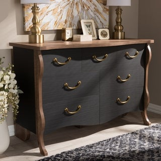 Country Cottage Black and Oak 7-Drawer Dresser by Baxton Studio
