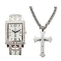 Hip Hop Iced Out Jesus Cross Decor Rectangular Silver Bling Bling Watch and Matching Iced Out Stainless Steel Cross Necklace