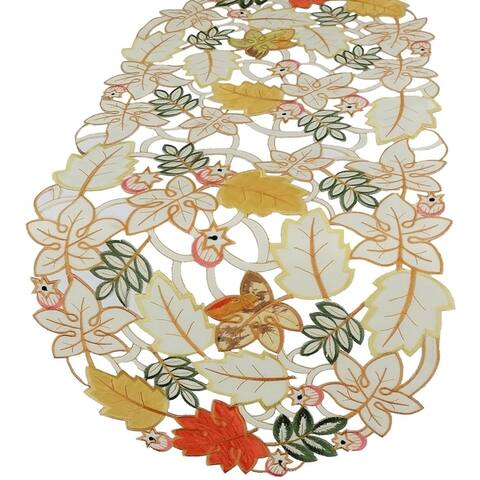 Harvest Splendor Embroidered Cutwork Fall Table Runner,16 by 34-Inch