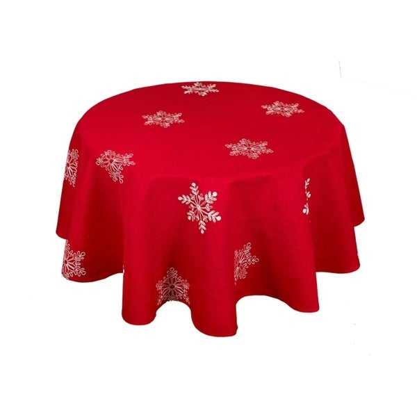 Shop Snowy Noel Embroidered Snowflake Christmas Round Tablecloth, 70 Inch  Round, Red And White   On Sale   Free Shipping Today   Overstock   21236267