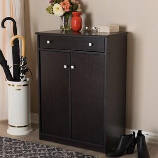 Contemporary Dark Brown Shoe Cabinet by Baxton Studio