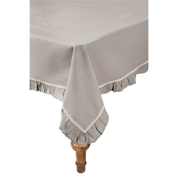 Shop Ruffle Trim Taupe With White Lace Tablecloth 72 By