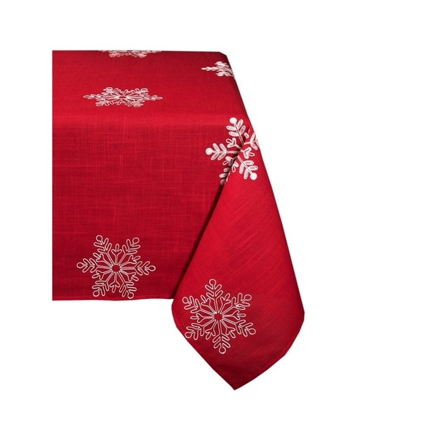 snowy noel embroidered snowflake christmas square tablecloth 60 by 60 inch red and - Square Christmas Tablecloth