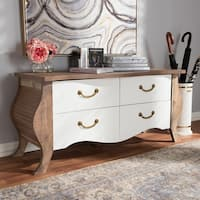 Country Cottage White and Oak 4-Drawer Cabinet by Baxton Studio