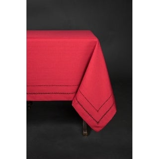 Handmade Double Hemstitch Easy Care Tablecloth, 60 by 84-Inch, Red (4 options available)