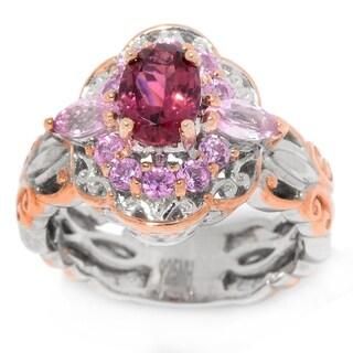 Michael Valitutti Palladium Silver Pink Tourmaline and Pink Sapphire Ring