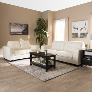 Contemporary White Faux Leather 2-Piece Set by Baxton Studio
