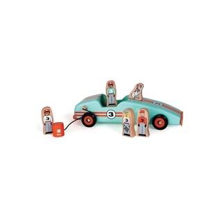 Jack Rabbit Creations Magnetic Wooden Retro Race Car Set