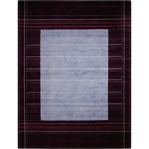 Calvin Klein Hand Knotted Wine Red Area Rug by Nourison - 3' x 5'