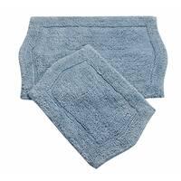 Waterford 2 Piece Bath Rug Set 21X34 24X40 BLUE
