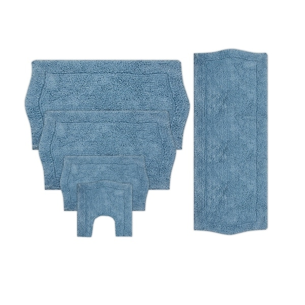 WATERFORD 5 PIECE BATH RUG SET 17x24/21x34/24x40/22x60/20x20 BLUE