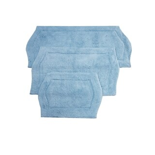 Waterford 3 Piece Bath Rug Set 17X24 21X34 24X40 Blue