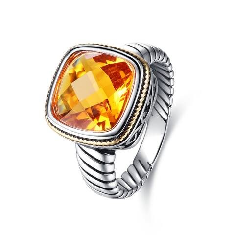 Rhodium Plated Lab-Created Citrine Cocktail Ring