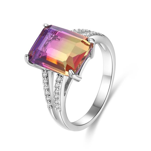 Rhodium Plated Lab-Created Ametrine Emerald-Cut Ring