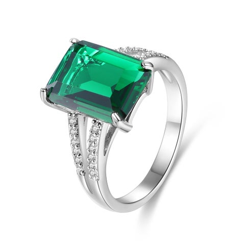 White Gold Plated Green Infused Crystal Emerald-Cut Ring