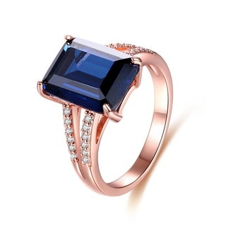 Rose Gold Plated Royal Blue Infused Crystal Emerald-Cut Ring