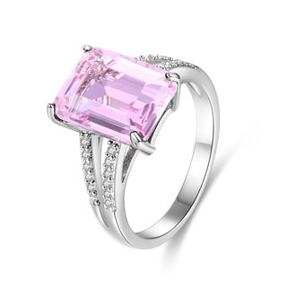 White Gold Plated Pink Infused Crystal Emerald-Cut Ring