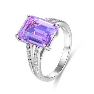 White Gold Plated Purple Infused Crystal Emerald-Cut Ring