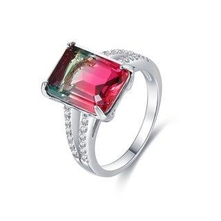 Rhodium Plated Lab-Created Watermelon Tourmaline Emerald-Cut Ring
