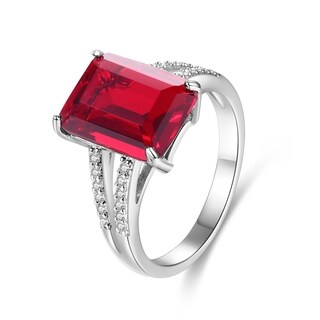 White Gold Plated Red Infused Crystal Emerald-Cut Ring
