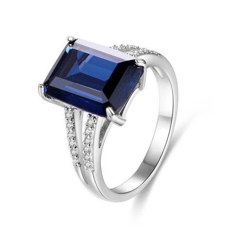White Gold Plated Royal Blue Infused Crystal Emerald-Cut Ring