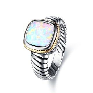 Link to Rhodium Plated Oxidized Opal Cocktail Ring Similar Items in Rings