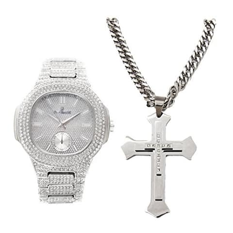 Silver Bling Iced Out Oblong Rapper's Metal Mens Hip Hop Watch with Matching Bling-ed Out Jesus Steel Silver Cross Necklace