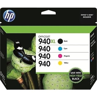 HP 940XL/940 High-Yield Black and Standard C/M/Y Color Ink Cartridges (CZ143FN)