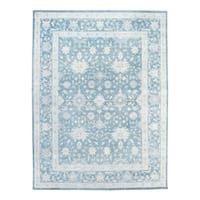 """Pasargad Oushak Hand-Knotted Blue Silk and Wool Rug (10' 0"""" X 14' 1"""") - 10' 0"""" x 14' 1"""""""