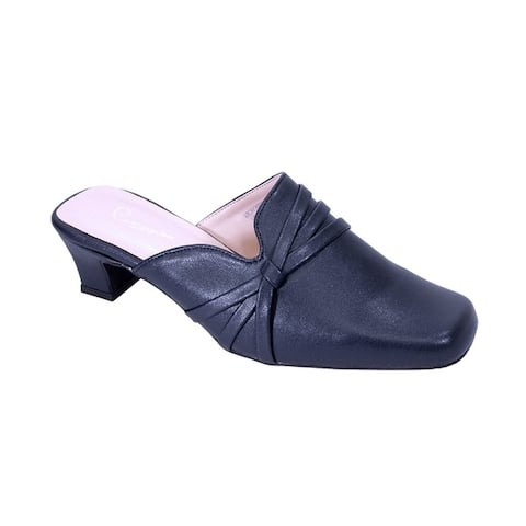 Peerage Claudia Women Wide Width Square Toe Comfort Casual Dress Mule