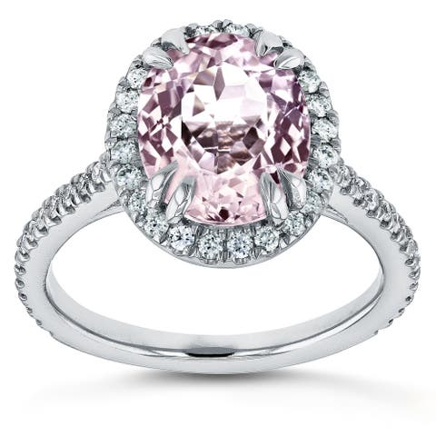 Annello by Kobelli 14k White Gold 3 7/8ct TGW Oval Cut Pink Kunzite and Diamond Halo Gemstone Ring