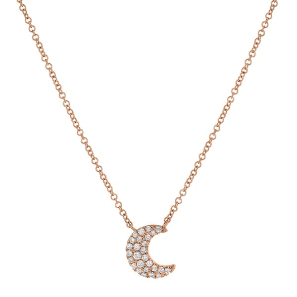 0cfd249927b05 Shop 14kt Rose Gold 1/7ct TDW Diamond Crescent Moon Necklace - Free ...