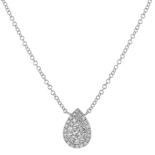 14kt White Gold 1/4ct TDW Diamond Tear Drop Necklace