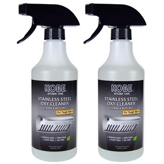 KOBE Stainless Steel Oxy-Cleaner (2 Pack), Cleans and Restores, Scent Free, Non-Toxic, 16.9 Oz., Stainless Steel Cleaner