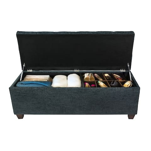 SOLE SECRET DUO Diamond Tufted Linen & Shoe Storage Bench - ATLAS