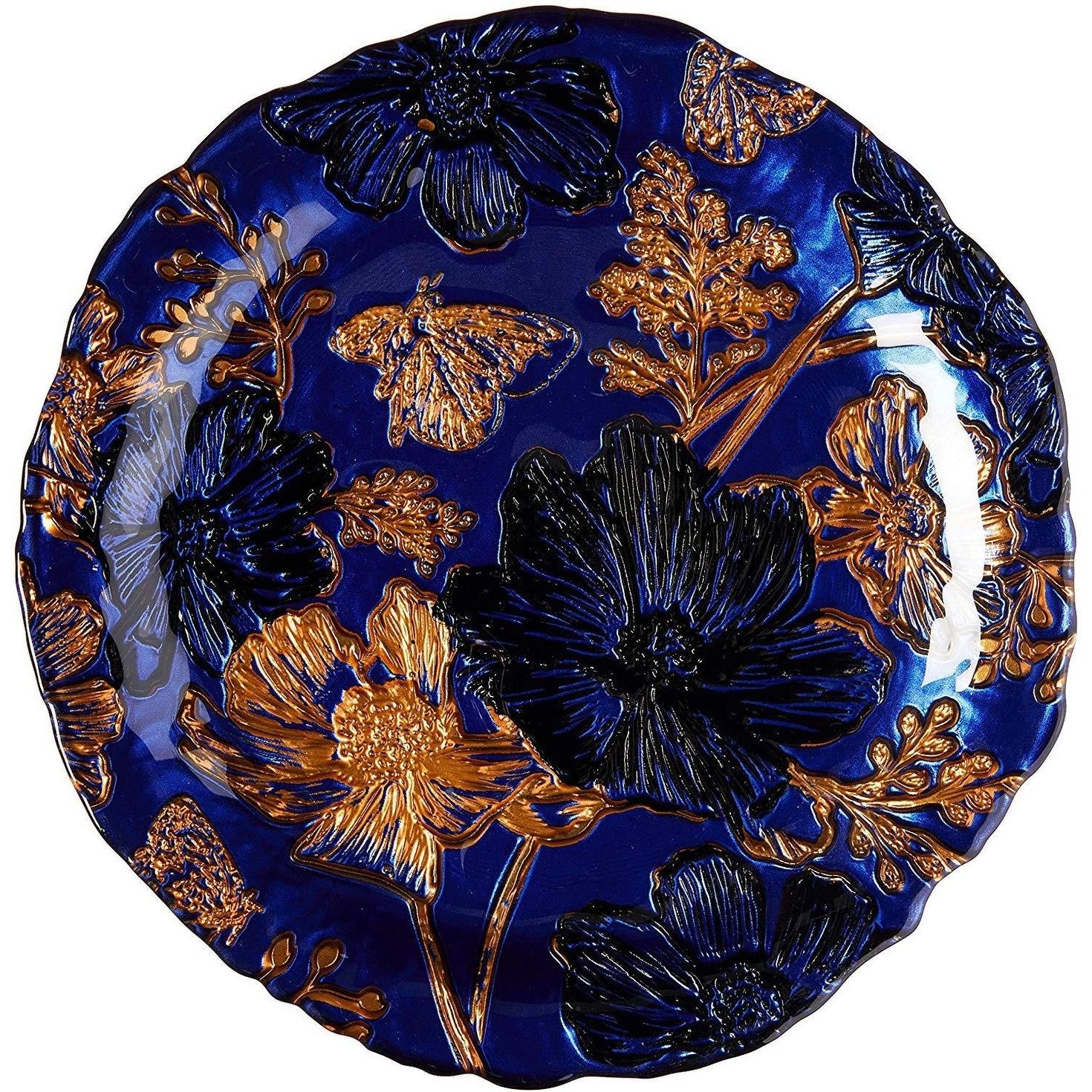 PAPILLON Set//12 Glass Salad Plates Indigo//Gold//Black