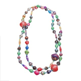Handmade Paper Bead Ochira Necklace Long Multicolor (Uganda)