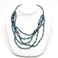 Handmade Paper Bead Natino Five Necklace Blue (Uganda)