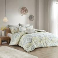 Carson Carrington Oslo Yellow Cotton Printed 7-piece Comforter Set