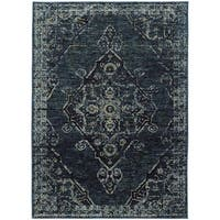 Carson Carrington Kristianstad Antiqued Traditional Medallion Blue/ Blue Rug - 7'10 x 10'10
