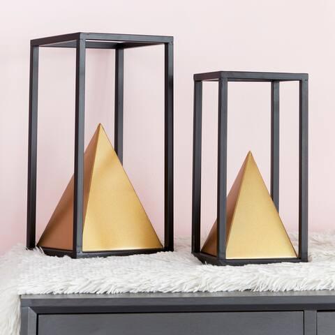 """Framed Black & Gold Metal Sculptures Set of 2 - 6"""" x 12"""", 5"""" x 10"""""""