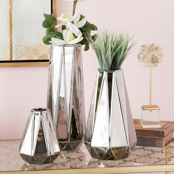 "Glam Geometric Silver Vases Set of 3 - 4"" x 15"", 6"" x 11"", 5"" x 7"""