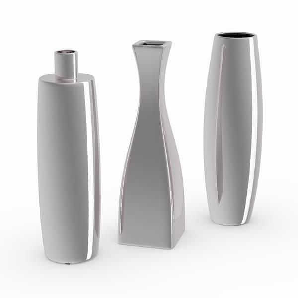 Silver Ceramic Vase (Set of 3)