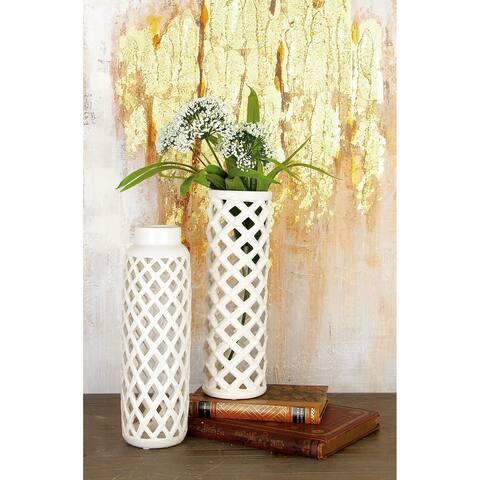 The Gray Barn Barrontop White Ceramic Vase (Set of 2)