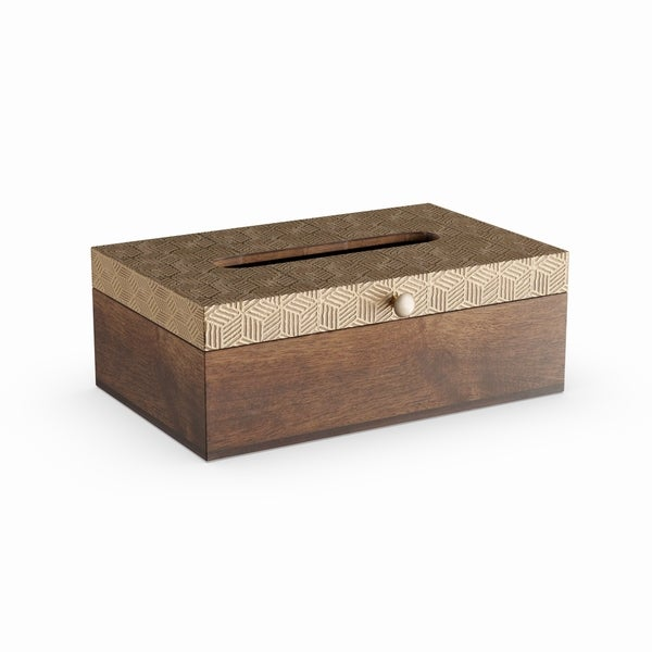 The Curated Nomad Gunnerman Wood and Brass Tissue Box