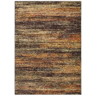 Carson Carrington Halden Textural Stripes Gold/Charcoal Nylon/Polypropylene Area Rug - 7'10 x 10'10