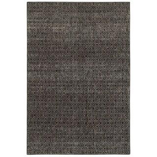 """Carson Carrington Boden Textural Diamonds Black and Grey Area Rug - 1'10"""" x 3'3"""""""